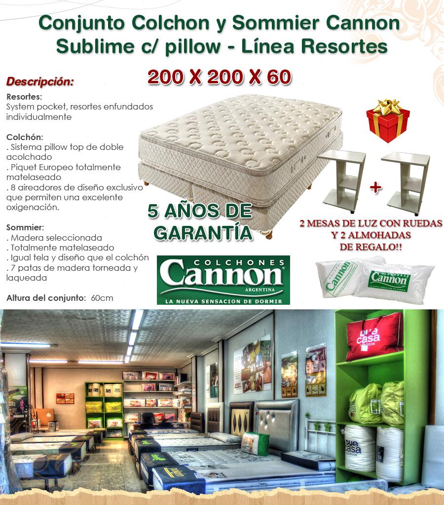 Sommier y colchon 200x200 cannon sublime pillow 4 - Colchon 200x200 ...